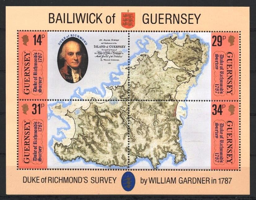 Stamps with Map from Guernsey (image for product #037522)
