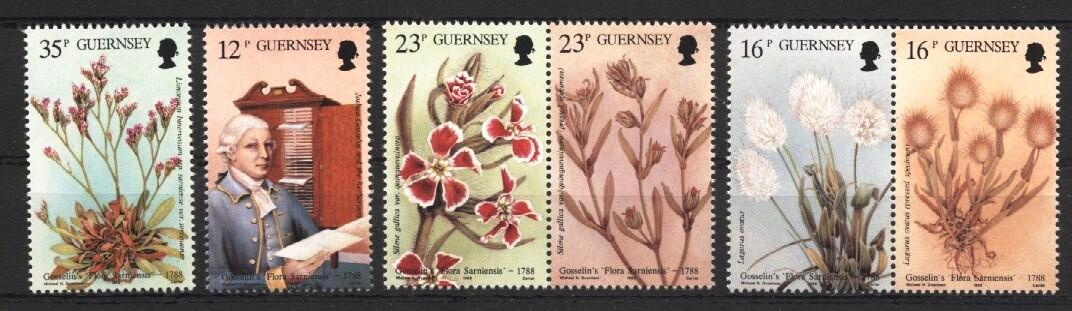 Stamps with Flowers, Plants from Guernsey (image for product #037530)