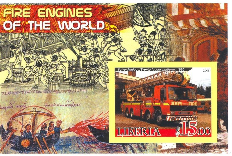 Stamps with Firefighters / engines from Liberia (non official) (image for product #037897)