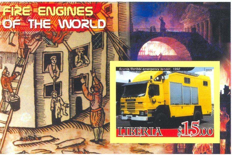 Stamps with Firefighters / engines from Liberia (non official) (image for product #037898)