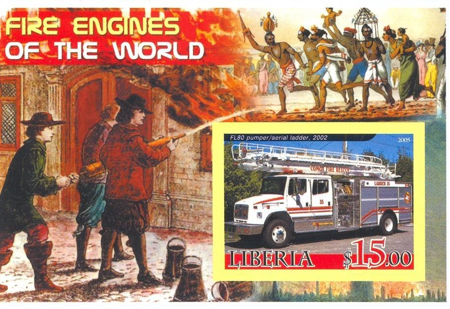 Stamps with Firefighters / engines from Liberia (non official) (image for product #037899)