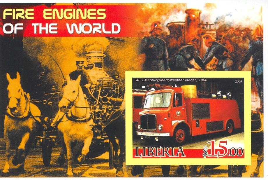 Stamps with Firefighters / engines from Liberia (non official) (image for product #037900)