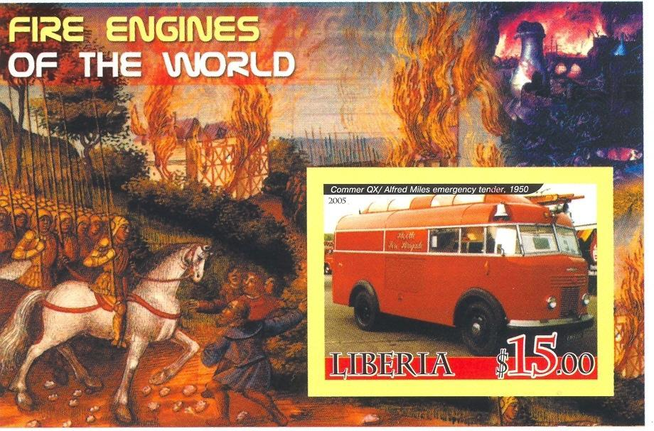 Stamps with Firefighters / engines from Liberia (non official) (image for product #037901)
