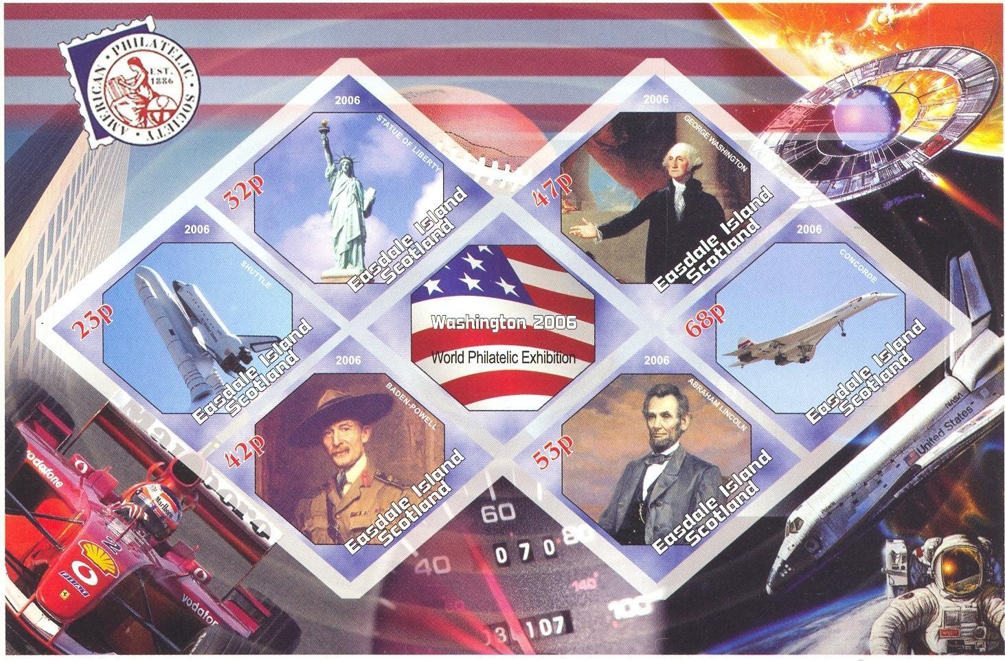 Stamps with Space, Flag, Concorde, Statue of Liberty, Lincoln (Abraham), Washington (George), Racing Cars, Baden Powell from Easdale Island (non official) (image for product #037902)