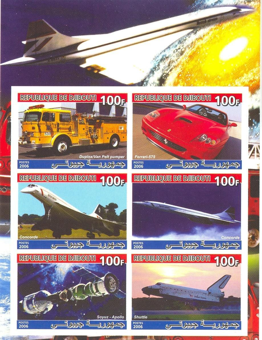 Stamps with Space, Concorde, Firefighters / engines, Racing Cars from Djibouti (non official) (image for product #037906)