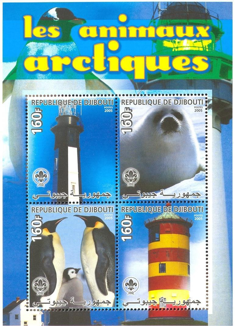 Stamps with Scouting, Seal, Lighthouse, Penguin, Antarctics from Djibouti (non official) (image for product #037913)