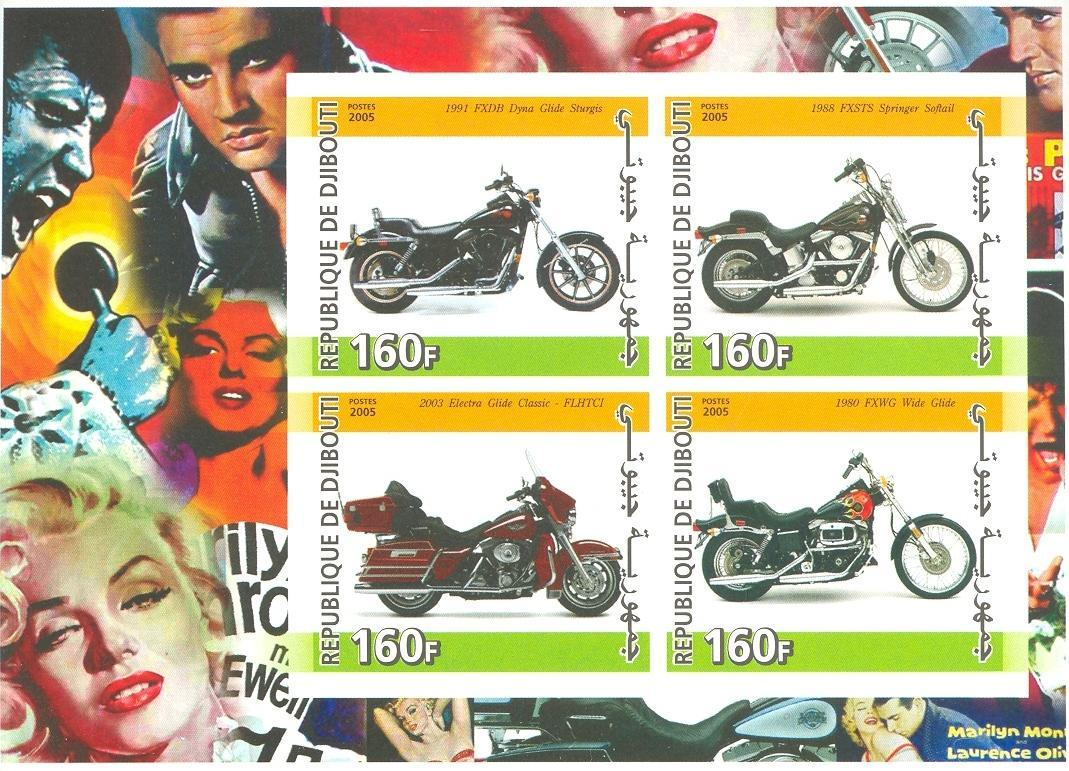 Stamps with Motorcycle, Marilyn Monroe, Elvis Presley from Djibouti (non official) (image for product #037915)