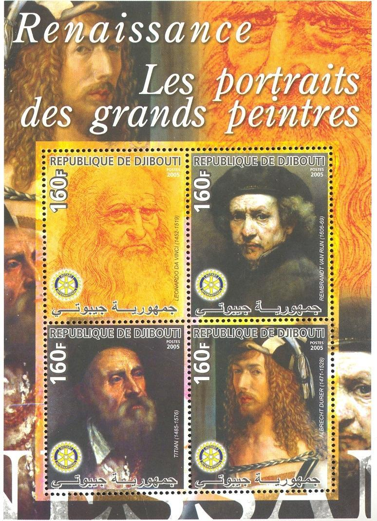 Stamps with Duerer (Albrecht), Art, Rotary, da Vinci (Leonardo), Titian, Rembrandt from Djibouti (non official) (image for product #037916)