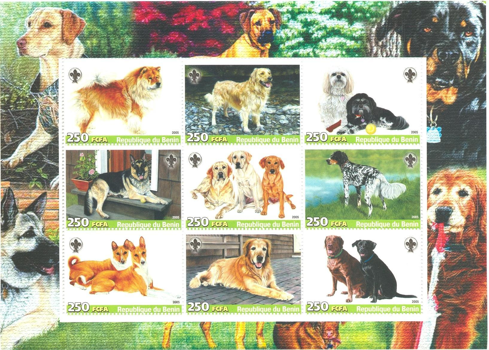Stamps with Tennis, Scouting, Dogs from Benin (non official) (image for product #037917)
