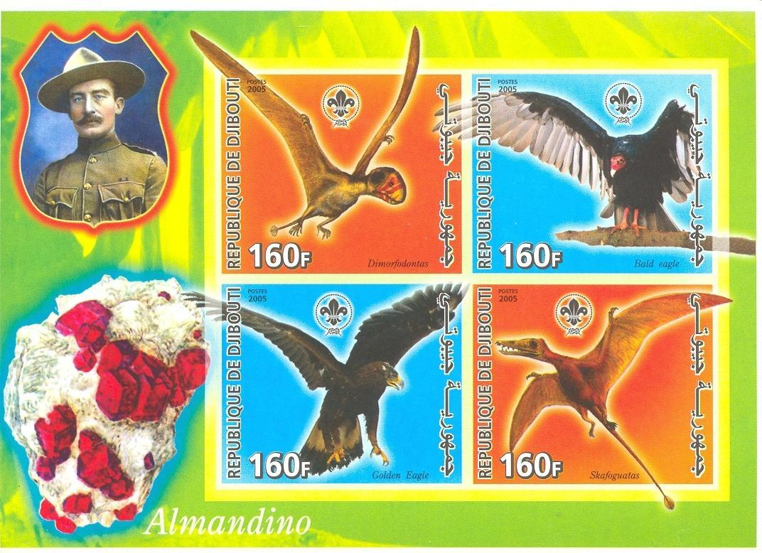 Stamps with Bird, Scouting, Minerals, Baden Powell, Bird of prey from Djibouti (non official) (image for product #037922)