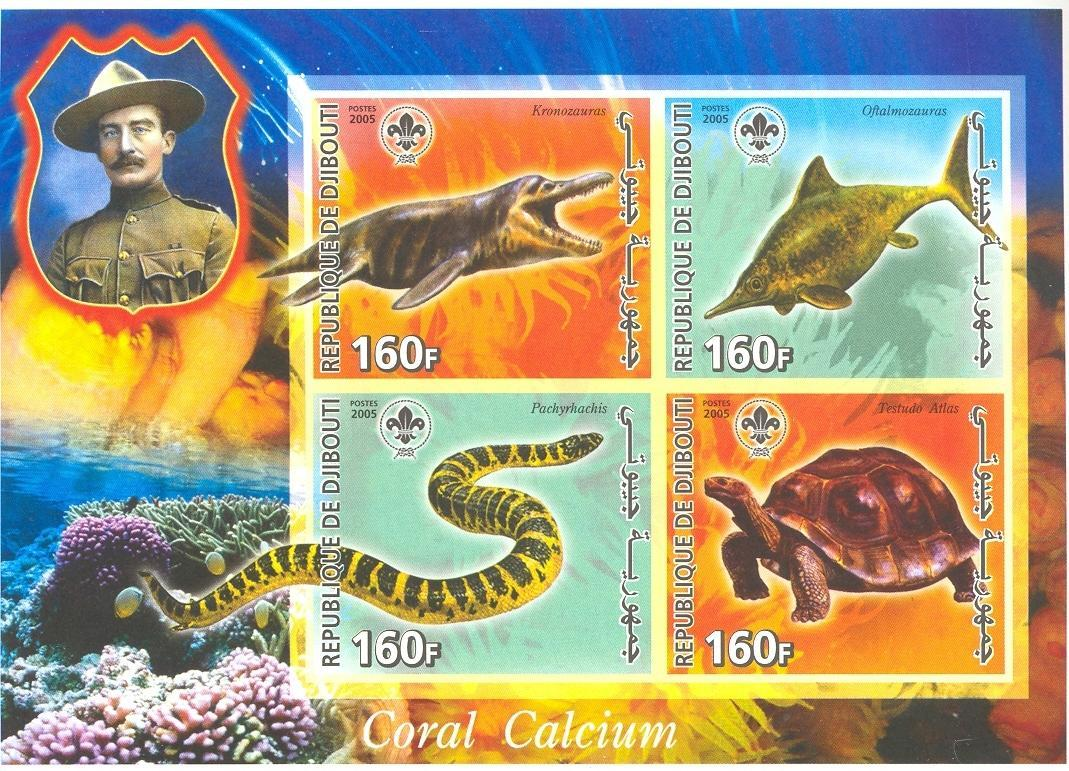 Stamps with Scouting, Corals, Turtle, Reptiles, Baden Powell from Djibouti (non official) (image for product #037923)