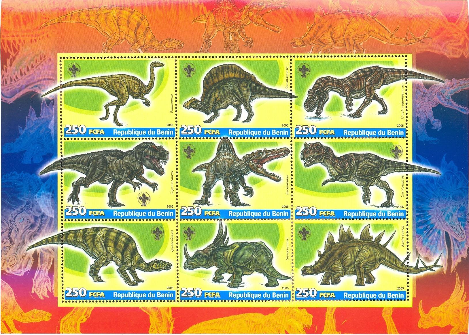 Stamps with Scouting, Dinosaurs from Benin (non official) (image for product #037925)
