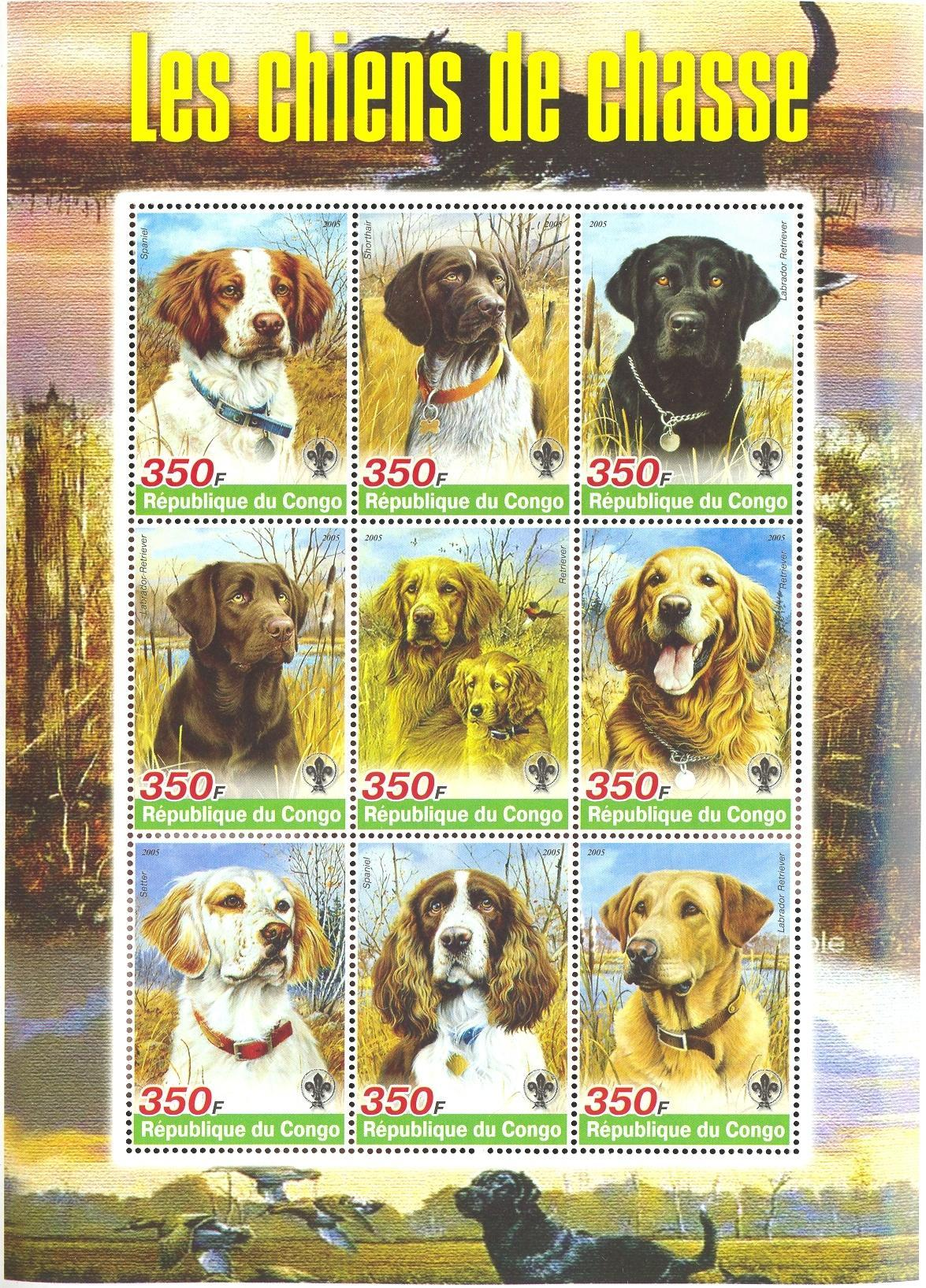 Stamps with Dogs, Scouting, Bird from Congo (non official) (image for product #037926)