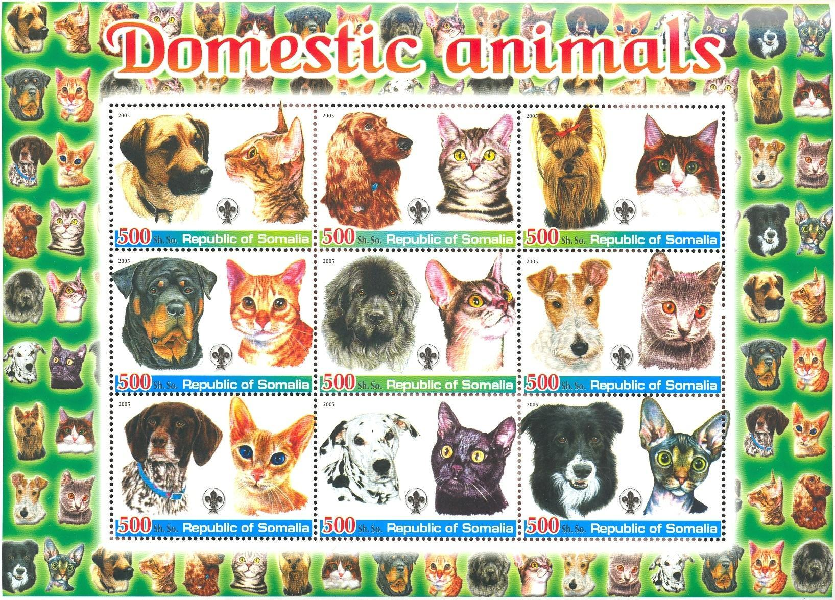 Stamps with Scouting, Cats, Dogs from Somalia (non official) (image for product #037927)