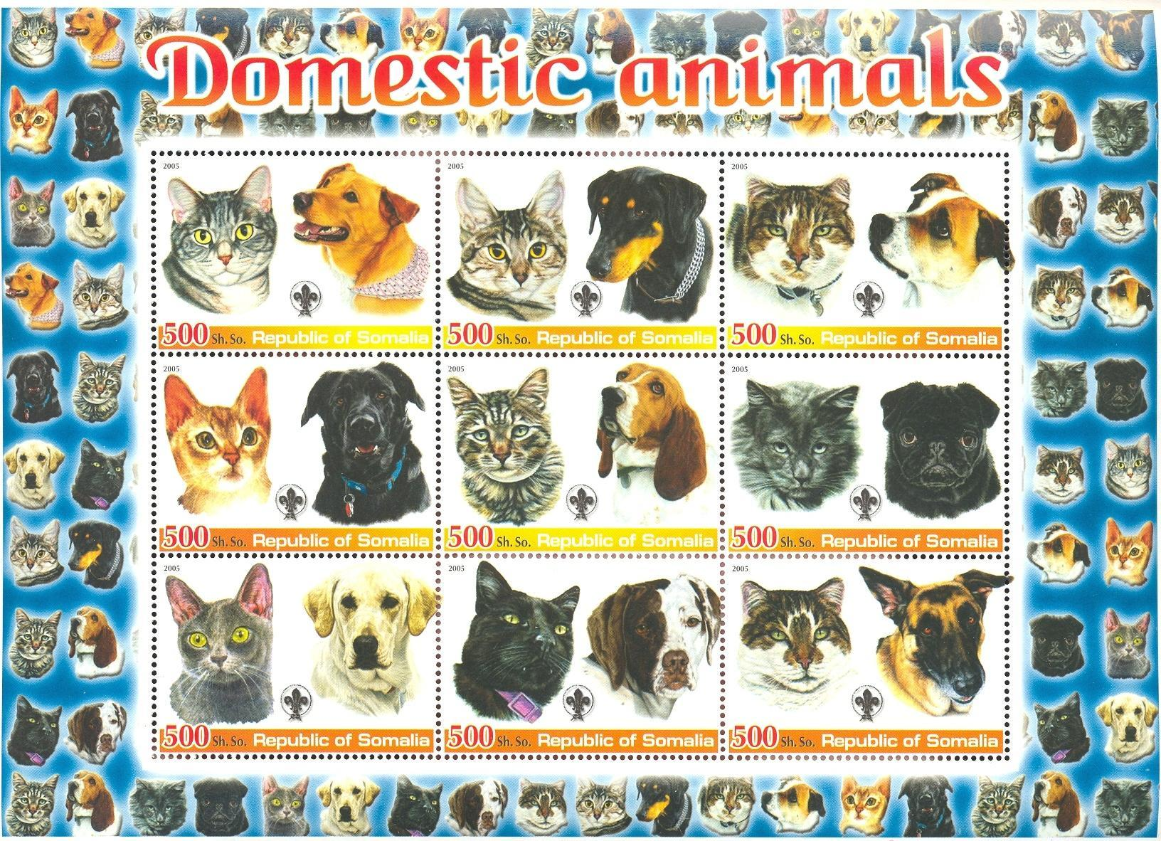 Stamps with Scouting, Cats, Dogs from Somalia (non official) (image for product #037928)