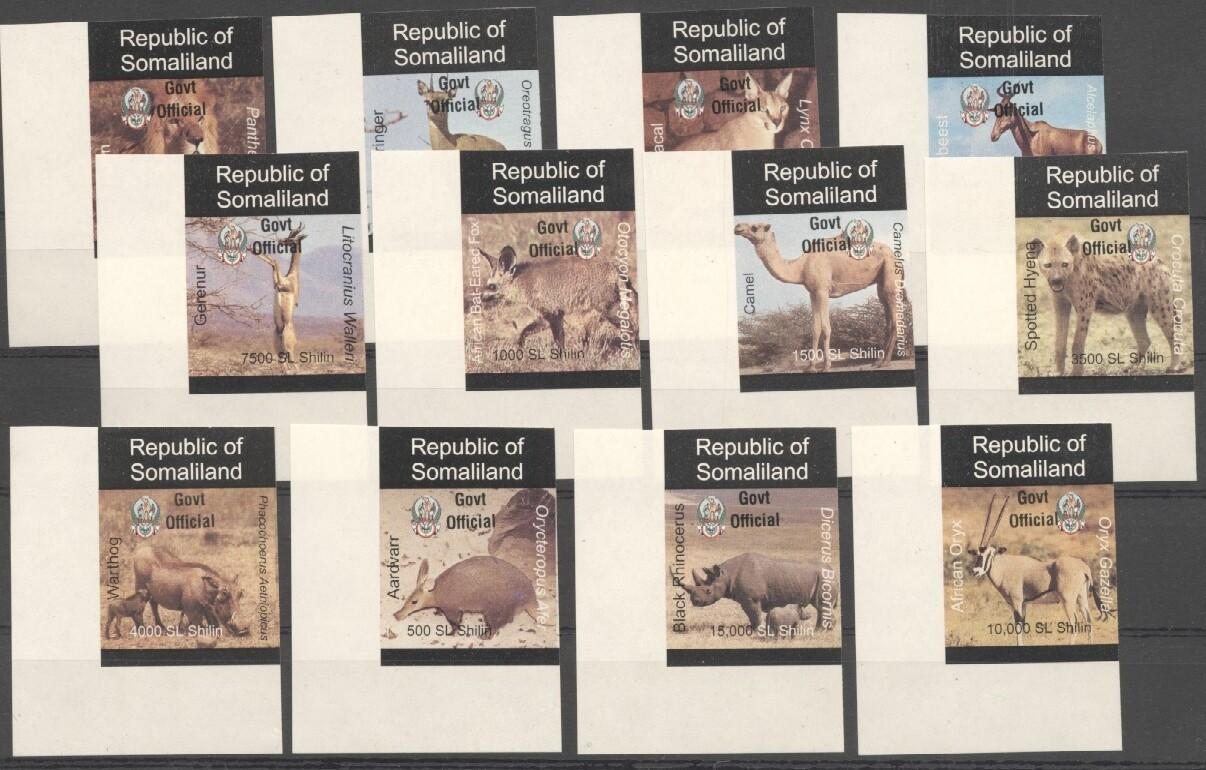 Stamps with Camel, Rhinoceros, Lion, Hog, Hyena, Antilope from Somalia (non official) (image for product #038071)