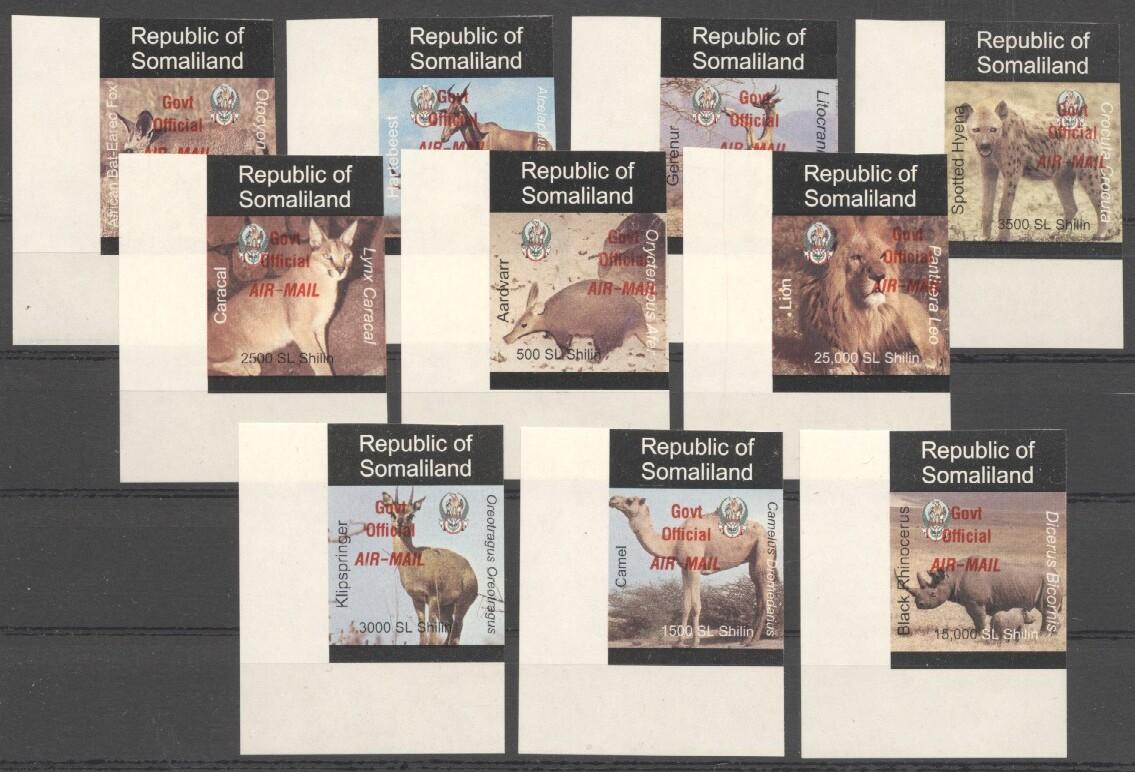 Stamps with Camel, Rhinoceros, Lion, Hog, Hyena, Antilope from Somalia (non official) (image for product #038073)