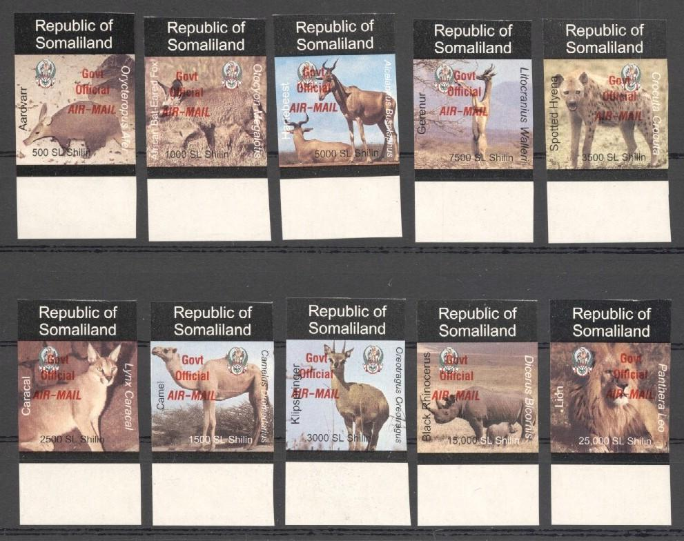 Stamps with Camel, Rhinoceros, Lion, Hog, Hyena, Antilope from Somalia (non official) (image for product #038074)