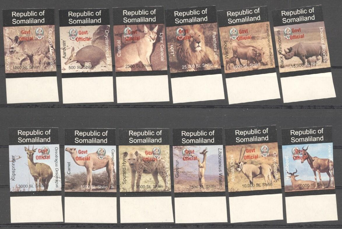 Stamps with Camel, Rhinoceros, Lion, Hog, Hyena, Antilope from Somalia (non official) (image for product #038076)