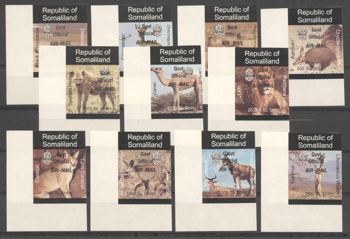 Stamps with Camel, Rhinoceros, Lion, Hog, Hyena, Antilope from Somalia (non official) (image for product #038077)