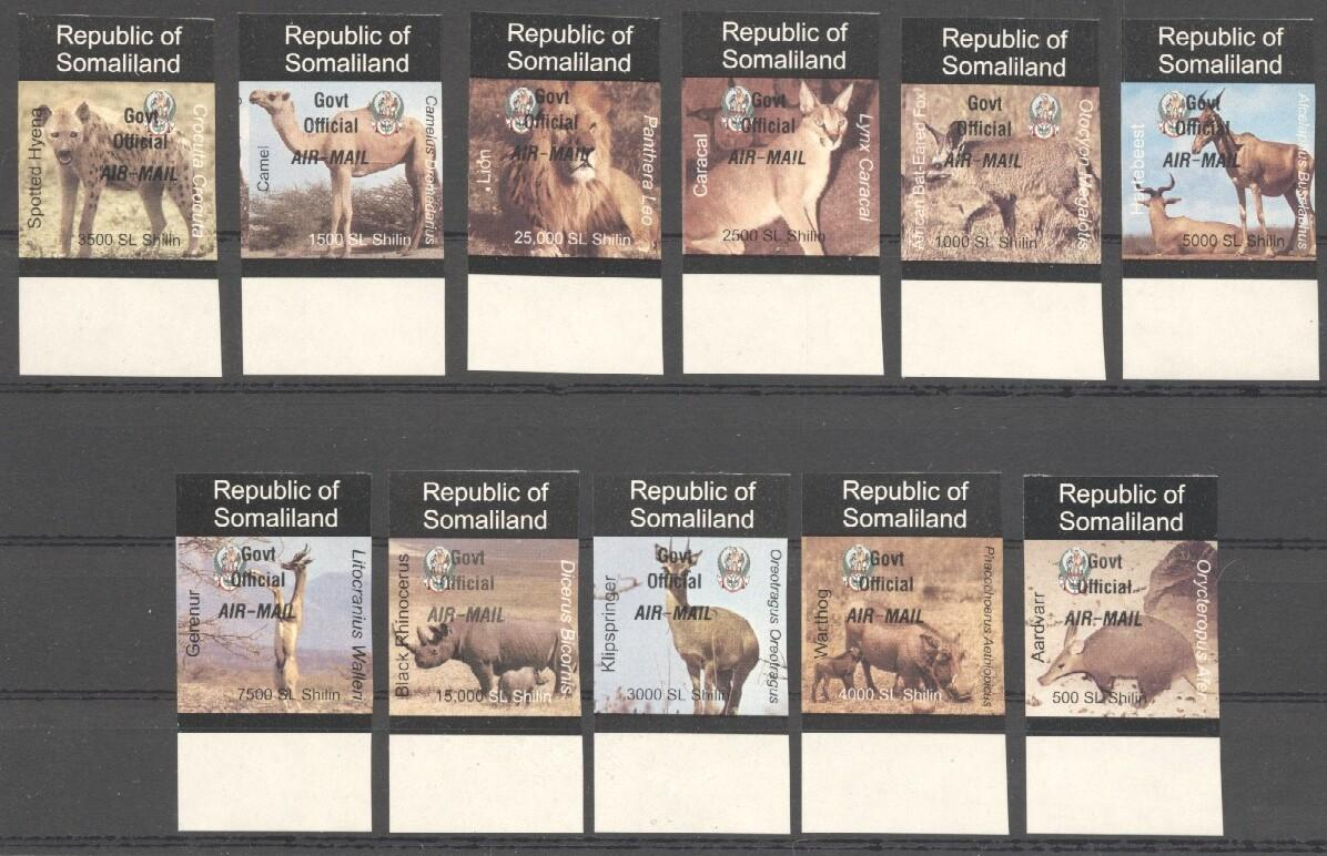 Stamps with Camel, Rhinoceros, Lion, Hog, Hyena, Antilope from Somalia (non official) (image for product #038078)