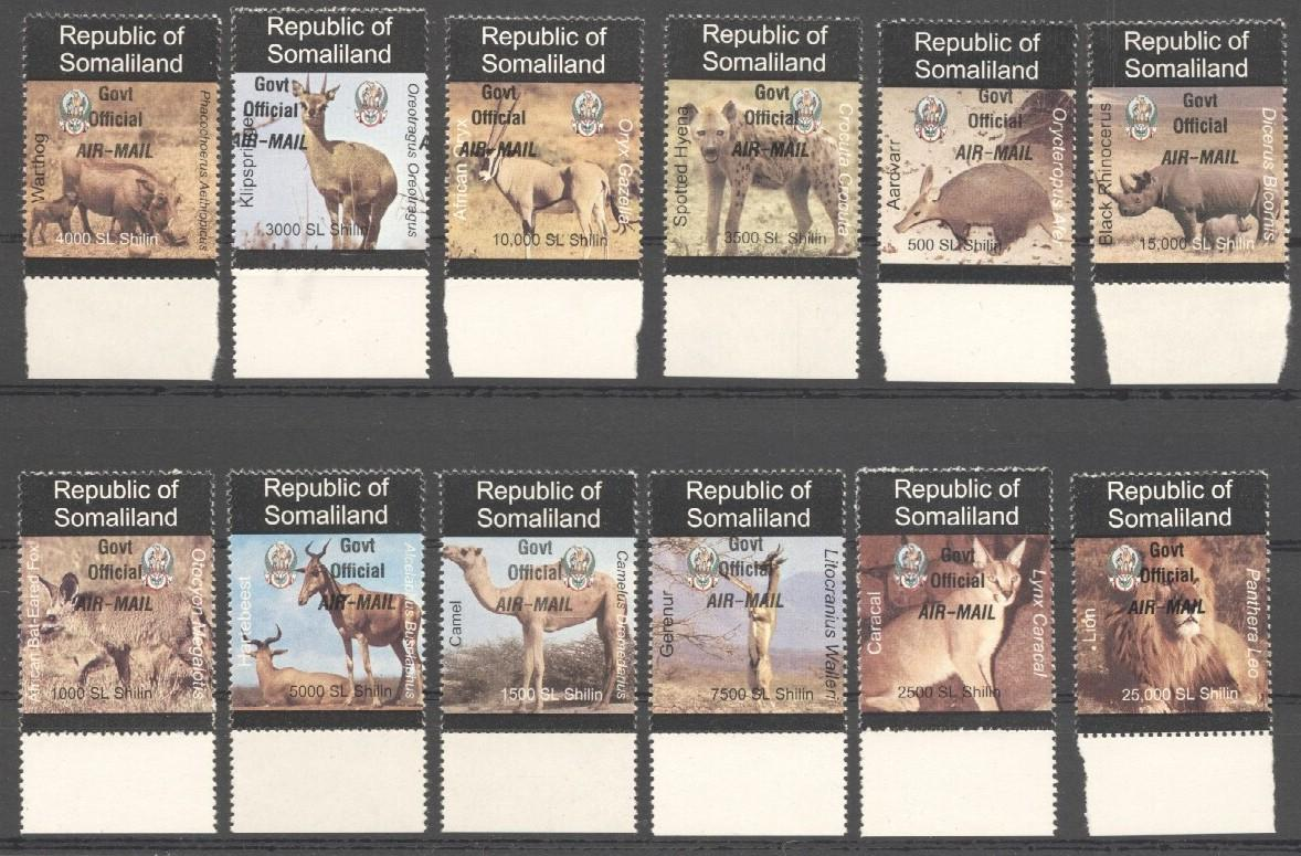Stamps with Camel, Rhinoceros, Lion, Hog, Hyena, Antilope from Somalia (non official) (image for product #038082)