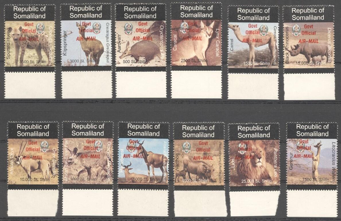 Stamps with Camel, Rhinoceros, Lion, Hog, Hyena, Antilope from Somalia (non official) (image for product #038087)