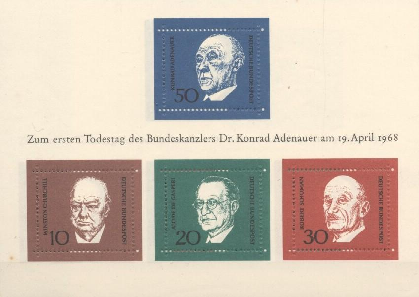 Stamps with Churchill, Adenauer (Konrad) from Germany (image for product #038246)