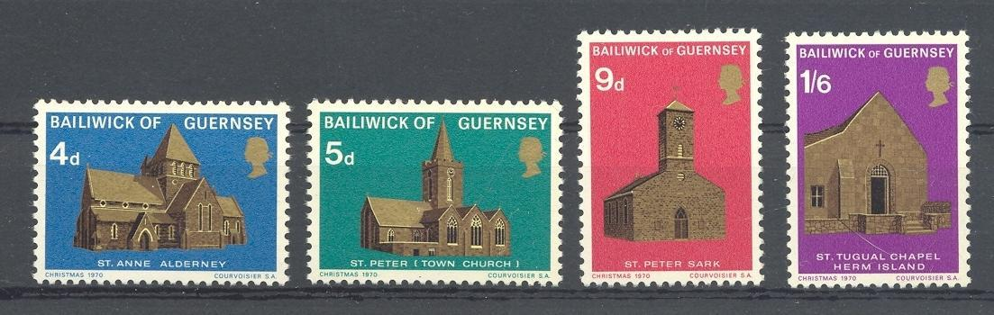 Stamps with Church from Guernsey (image for product #038339)