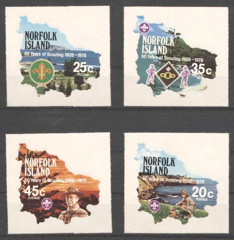 Stamps with Baden Powell, Scouting from Norfolk Island (image for product #038392)