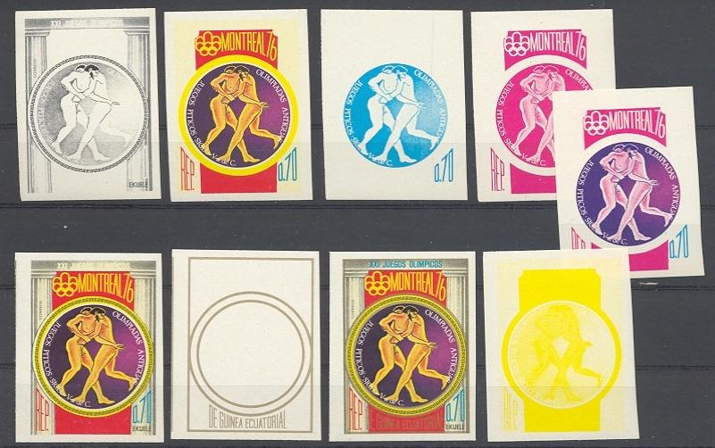 Stamps with Olympic Games, Wrestling, Antiquity from Equatorial Guinea (image for product #038744)