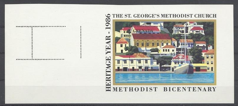 Stamps with Ship, Church from Grenada (image for product #038761)