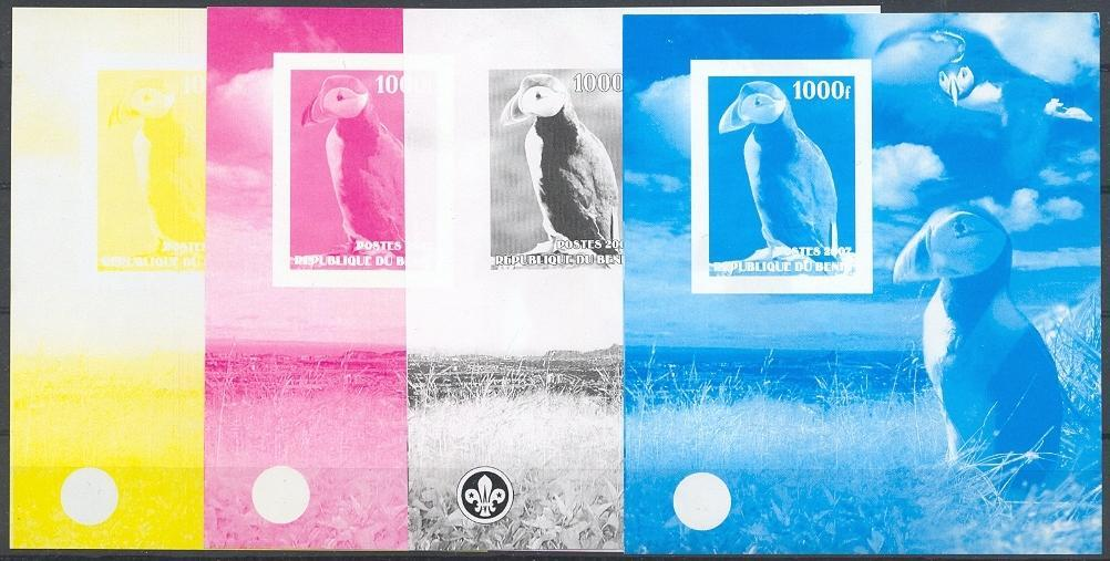 Stamps with Bird, Scouting, Puffin from Benin (non official) (image for product #040172)