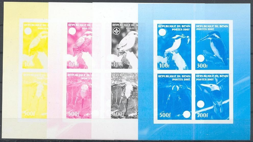 Stamps with Bird, Kingfisher, Scouting from Benin (non official) (image for product #040199)