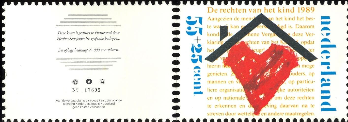 Stamps with Children, Heart, Childrens Rights, Kinderbedankkaarten from Netherlands (image for product #041817)