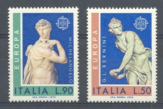 Stamps with Sculpture, Art, Europe CEPT from Italy (image for product #043588)