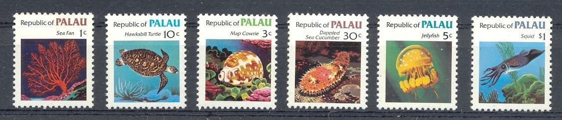 Stamps with Fish, Shells, Turtle from Palau (image for product #044512)