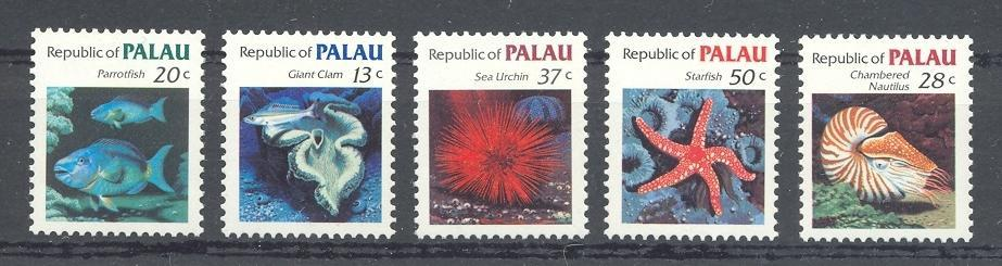 Stamps with Fish, Shells, Turtle from Palau (image for product #044513)