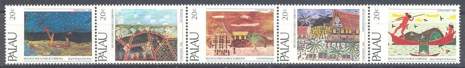 Stamps with Ship, Art from Palau (image for product #044516)