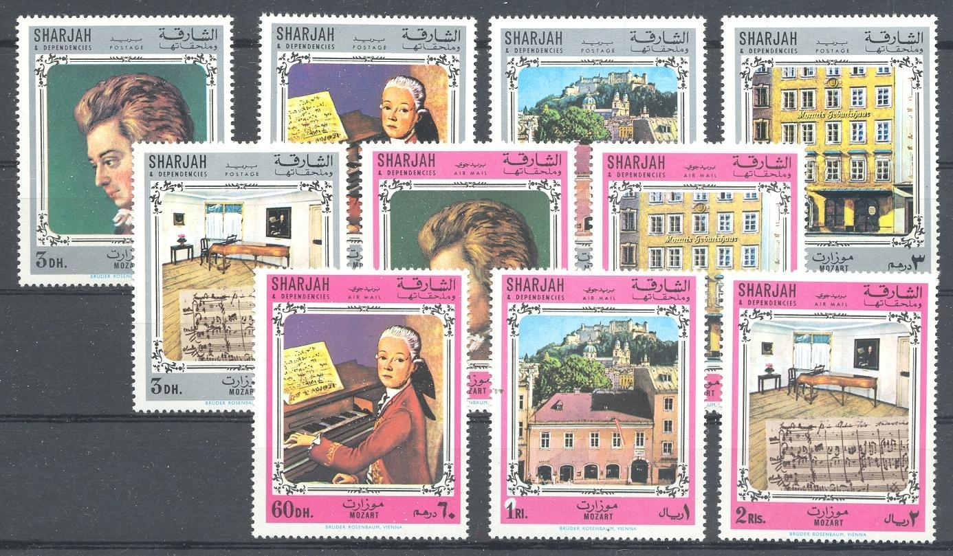 Stamps with Music, Mozart, Composer from Sharjah (image for product #048172)