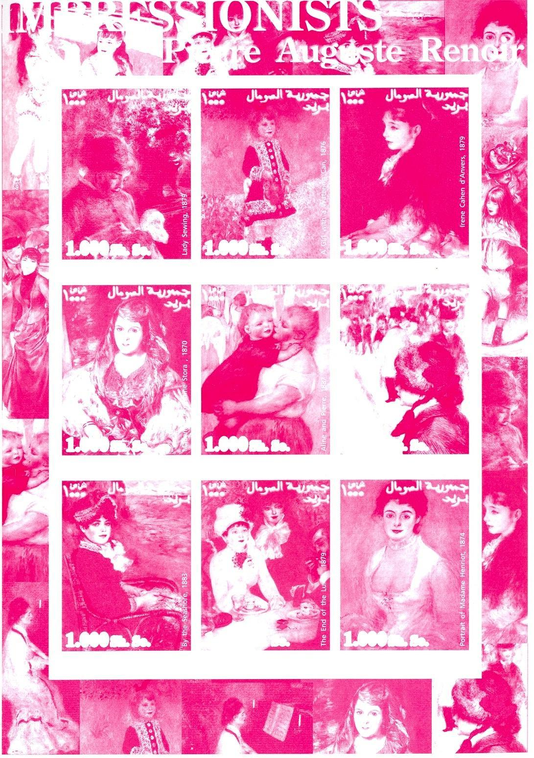 Stamps with Art, Renoir from Somalia (non official) (image for product #049743)