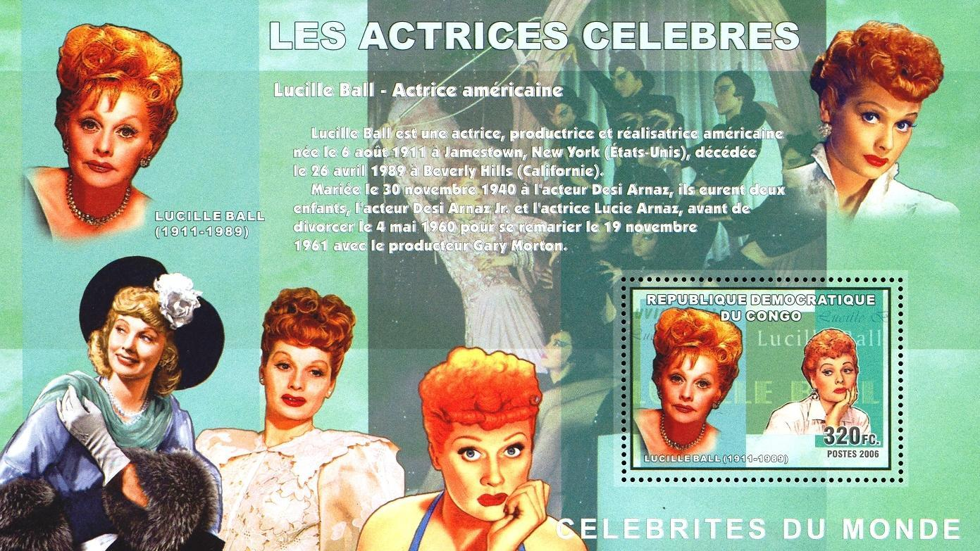 Stamps with Cinema / Movies, Movie Stars, Lucille Ball from Congo (image for product #050372)
