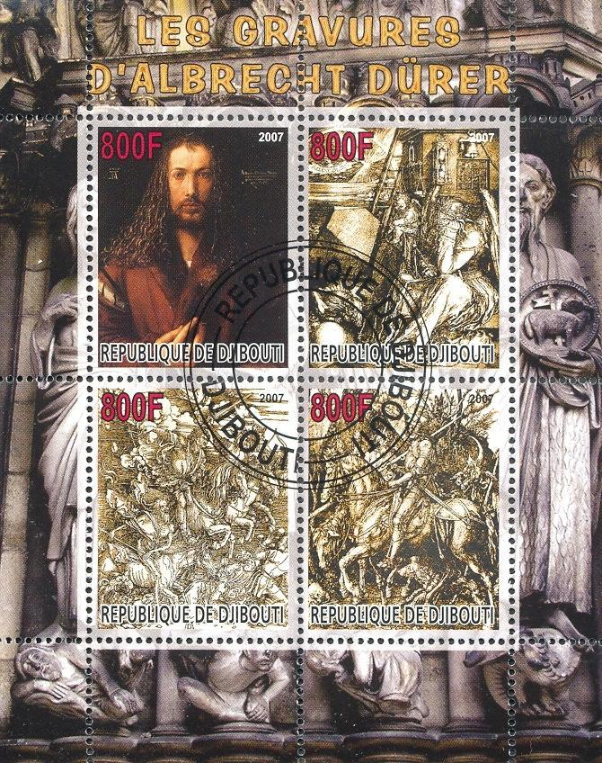 Stamps with Horse, Duerer (Albrecht), Art from Djibouti (non official) (image for product #054763)