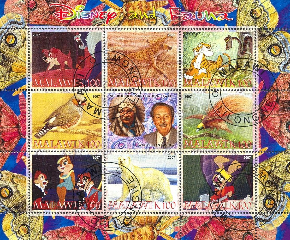 Stamps with Bird, Butterflies, Icebear, Cartoon, Hyena from Malawi (non official) (image for product #054771)