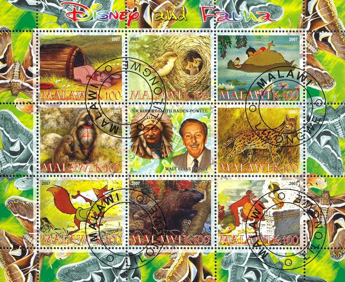 Stamps with Monkey, Butterflies, Bear, Cartoon, Fox, Indian, Beaver from Malawi (non official) (image for product #054775)