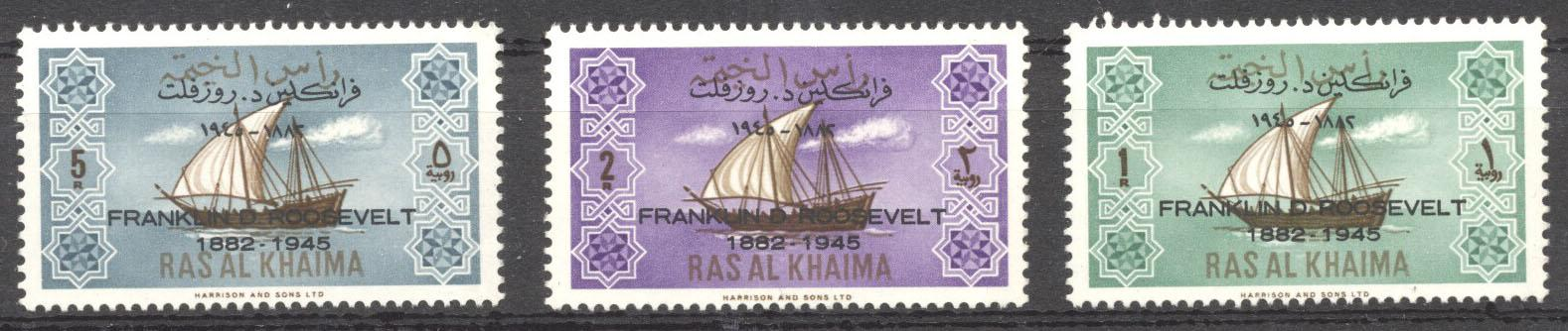 Stamps with Ship, Roosevelt (Franklin) from Ras al Khaima (image for product #142373)