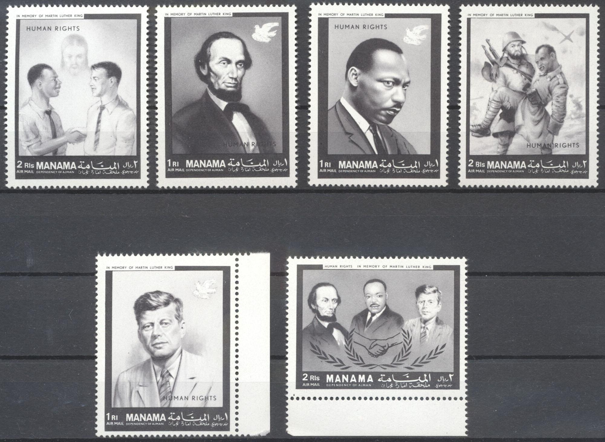 Stamps with Human Rights, Kennedy, Martin Luther King, Lincoln (Abraham), War from Manama (image for product #142391)