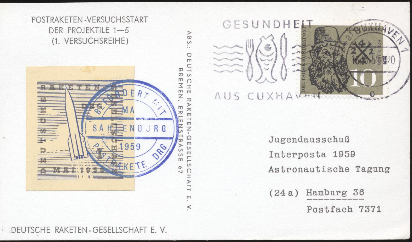 Stamps with Space, Rocketmail from Germany (image for product #167524)