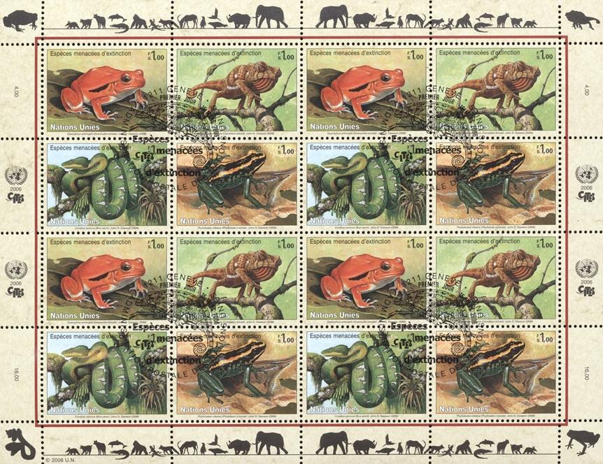 Stamps with Snake, Frog, Amphibians, Reptiles, Endangered Species from United Nations (image for product #182392)