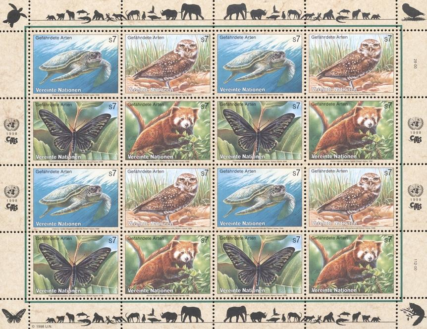 Stamps with Bird, Butterflies, Owl, Turtle, Endangered Species, Panda from United Nations (image for product #182410)
